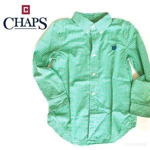 Chaps green + white boys dress shirt, 6